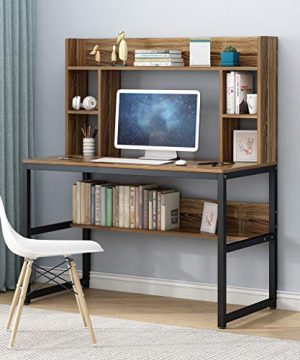 Computer Desk With Hutch And Bookshelf 47 Writing Desk With Storage Shelf Students Study Table Home Office PC Laptop Table Modern Wood Workstation 0 300x360