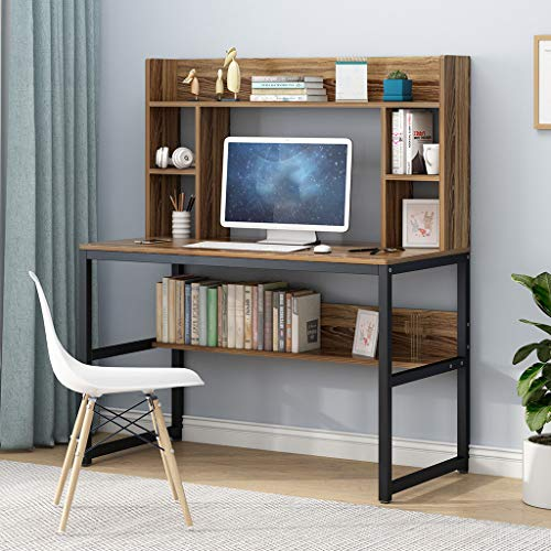 Computer Desk With Hutch And Bookshelf 47 Writing Desk With Storage Shelf Students Study Table Home Office PC Laptop Table Modern Wood Workstation 0