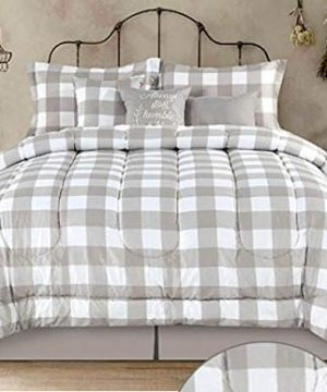 Country Farmhouse Rustic Plaid Buffalo Check Tan White King Comforter Set 7 Piece Set Homemade Wax Melts 0 300x360