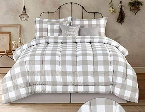 Country Farmhouse Rustic Plaid Buffalo Check Tan White King Comforter Set 7 Piece Set Homemade Wax Melts 0