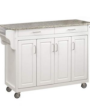 Create A Cart White 4 Door Cabinet Kitchen Cart With Gray Granite Top By Home Styles 0 300x360