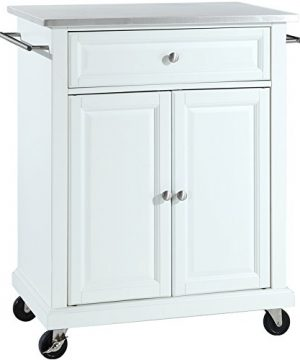 Crosley Furniture Cuisine Kitchen Island With Stainless Steel Top White 0 300x360