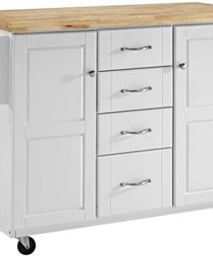 Crosley Furniture Elliot Kitchen Cart With Natural Top White 0 300x360