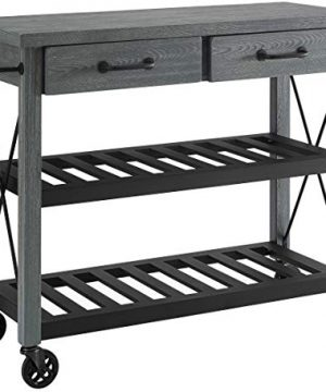 Crosley Furniture Roots Rack Industrial Rolling Kitchen Cart Grey 0 300x360