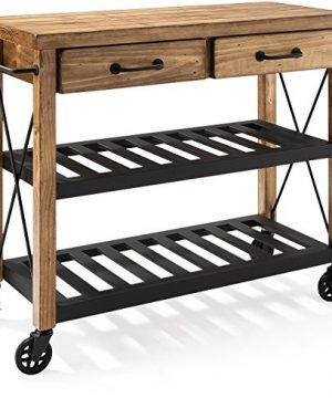 Crosley Furniture Roots Rack Industrial Rolling Kitchen Cart Natural 0 300x360