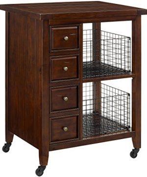 Crosley Furniture Sienna Rolling Kitchen Cart Rustic Mahogany 0 300x360