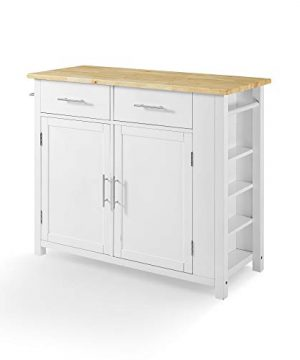 Crosley Savannah Wood Top Full Size Kitchen IslandCart WhiteNatural 0 0 300x360