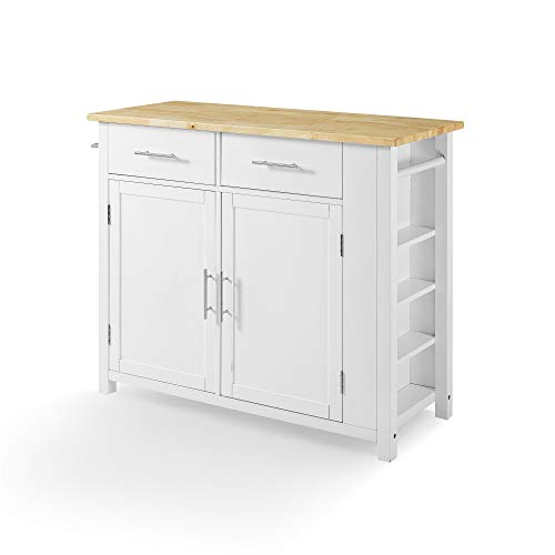 Crosley Savannah Wood Top Full Size Kitchen IslandCart WhiteNatural 0 0