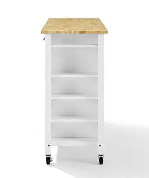 Crosley Savannah Wood Top Full Size Kitchen IslandCart WhiteNatural 0 1 300x360