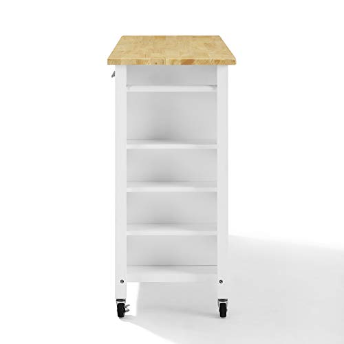Crosley Savannah Wood Top Full Size Kitchen IslandCart WhiteNatural 0 1