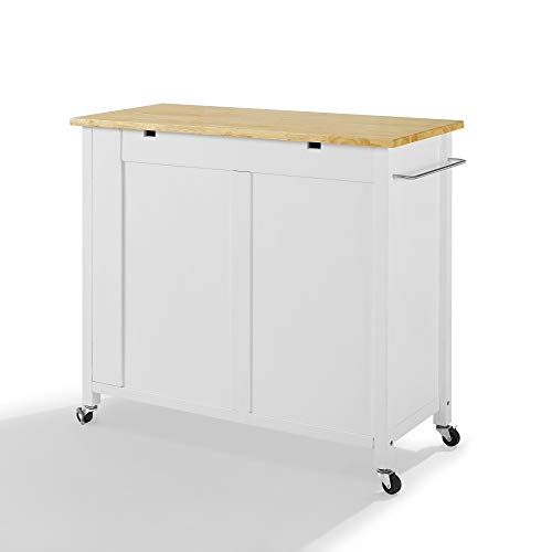 Crosley Savannah Wood Top Full Size Kitchen IslandCart WhiteNatural 0 2