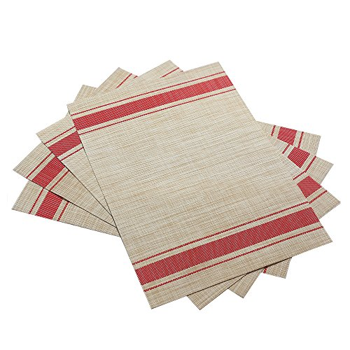 DACHUI Placemats Heat Resistant Placemats Stain Resistant Anti Skid Washable PVC Table Mats Woven Vinyl Placemats Set Of 4 Red 0 0