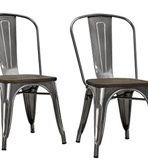 DHP Fusion Metal Dining Chair With Wood Seat Distressed Metal Finish For Industrial Appeal Set Of Two Antique Gun Metal 0 0 300x333