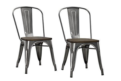 DHP Fusion Metal Dining Chair With Wood Seat Distressed Metal Finish For Industrial Appeal Set Of Two Antique Gun Metal 0 0