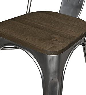 DHP Fusion Metal Dining Chair With Wood Seat Distressed Metal Finish For Industrial Appeal Set Of Two Antique Gun Metal 0 1 300x333