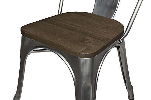 DHP Fusion Metal Dining Chair With Wood Seat Distressed Metal Finish For Industrial Appeal Set Of Two Antique Gun Metal 0 1