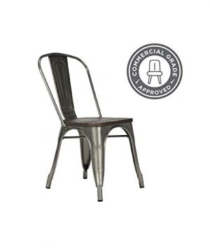 DHP Fusion Metal Dining Chair With Wood Seat Distressed Metal Finish For Industrial Appeal Set Of Two Antique Gun Metal 0 2 300x360