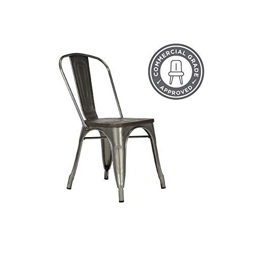 DHP Fusion Metal Dining Chair With Wood Seat Distressed Metal Finish For Industrial Appeal Set Of Two Antique Gun Metal 0 2