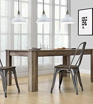 DHP Fusion Metal Dining Chair With Wood Seat Distressed Metal Finish For Industrial Appeal Set Of Two Antique Gun Metal 0 3 300x333