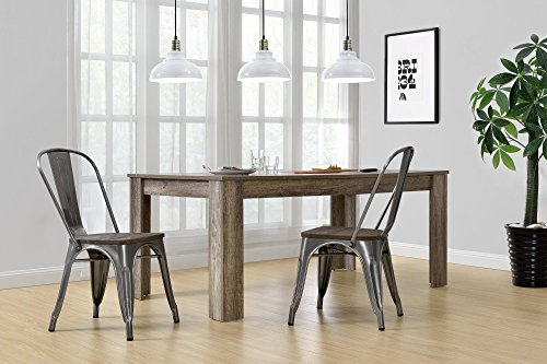 DHP Fusion Metal Dining Chair With Wood Seat Distressed Metal Finish For Industrial Appeal Set Of Two Antique Gun Metal 0 3