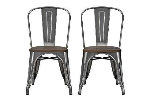 DHP Fusion Metal Dining Chair With Wood Seat Distressed Metal Finish For Industrial Appeal Set Of Two Antique Gun Metal 0