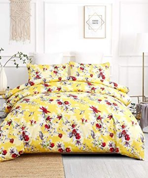 DaDa Bedding Radiant Sunshine Duvet Cover Yellow Farmhouse Floral Hummingbirds WPillow Cases Bright Vibrant Multi Colorful Red Flowers Very Soft Comforter Cover WCorner Ties Twin 2 Pieces 0 300x360