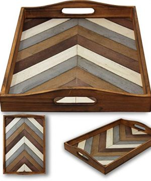 Decorative Vintage Wood Serving Tray For Coffee Table Or Ottoman Rustic Breakfast Tray Perfect Trays For Kitchen Dining Room Or Living Room Farmhouse Platter WHandles Multi Color 0 0 300x360