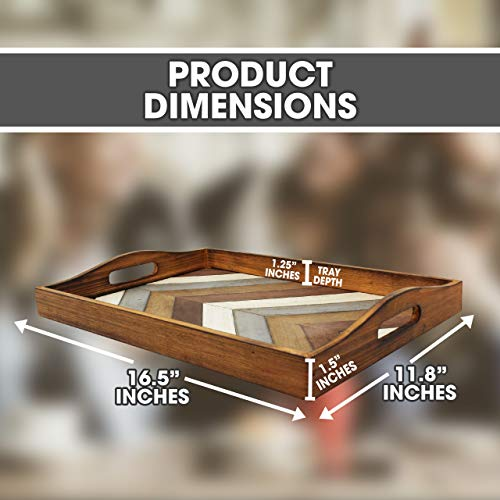 Decorative Vintage Wood Serving Tray For Coffee Table Or Ottoman Rustic Breakfast Tray Perfect Trays For Kitchen Dining Room Or Living Room Farmhouse Platter WHandles Multi Color 0 1