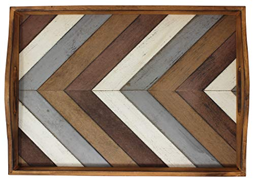 Decorative Vintage Wood Serving Tray For Coffee Table Or Ottoman Rustic Breakfast Tray Perfect Trays For Kitchen Dining Room Or Living Room Farmhouse Platter WHandles Multi Color 0