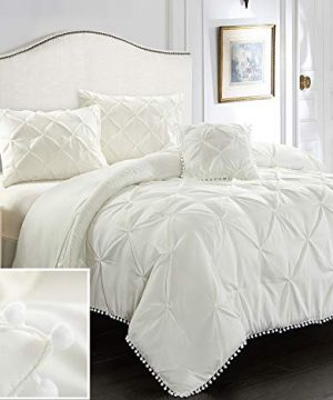 EVOLIVE 4pc Set Pinch PleatKiss Pleat Pintuck Down Alternative Comforter Set With Pompom FullQueen Cream 0 300x360