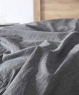 EXQ Home 100 Washed Cotton Grey Duvet Cover Set Twin Size 2 Pcs Super Soft Bedding Vintage Comforter Cover With Button Closure Hypoallergenic Breathable 0 0 300x360