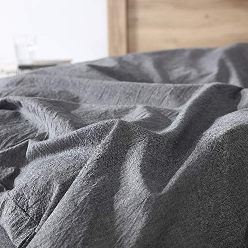 EXQ Home 100 Washed Cotton Grey Duvet Cover Set Twin Size 2 Pcs Super Soft Bedding Vintage Comforter Cover With Button Closure Hypoallergenic Breathable 0 0