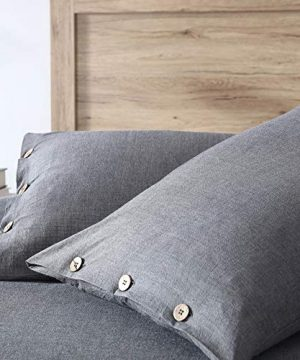 EXQ Home 100 Washed Cotton Grey Duvet Cover Set Twin Size 2 Pcs Super Soft Bedding Vintage Comforter Cover With Button Closure Hypoallergenic Breathable 0 1 300x360