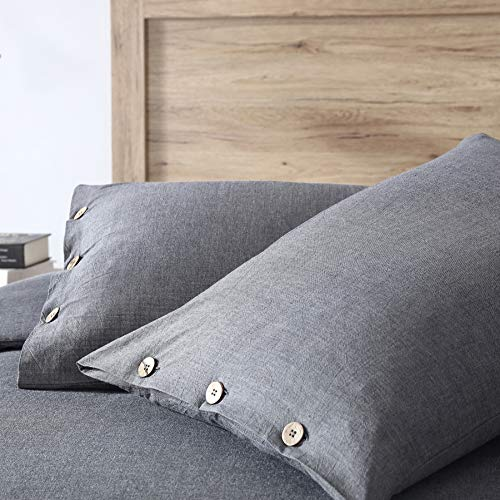 EXQ Home 100 Washed Cotton Grey Duvet Cover Set Twin Size 2 Pcs Super Soft Bedding Vintage Comforter Cover With Button Closure Hypoallergenic Breathable 0 1