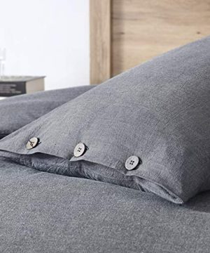 EXQ Home 100 Washed Cotton Grey Duvet Cover Set Twin Size 2 Pcs Super Soft Bedding Vintage Comforter Cover With Button Closure Hypoallergenic Breathable 0 2 300x360