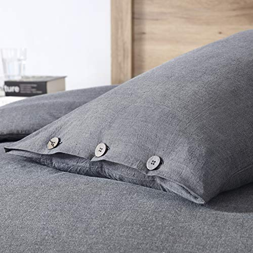 EXQ Home 100 Washed Cotton Grey Duvet Cover Set Twin Size 2 Pcs Super Soft Bedding Vintage Comforter Cover With Button Closure Hypoallergenic Breathable 0 2