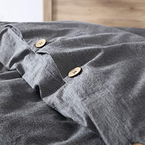 EXQ Home 100 Washed Cotton Grey Duvet Cover Set Twin Size 2 Pcs Super Soft Bedding Vintage Comforter Cover With Button Closure Hypoallergenic Breathable 0 3