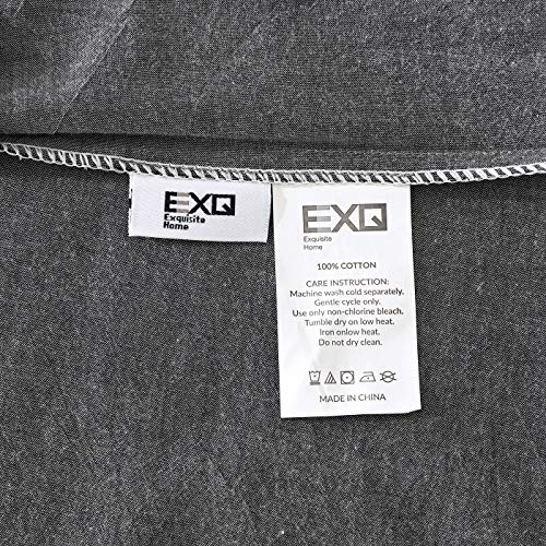 EXQ Home 100 Washed Cotton Grey Duvet Cover Set Twin Size 2 Pcs Super Soft Bedding Vintage Comforter Cover With Button Closure Hypoallergenic Breathable 0 5