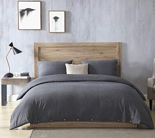 EXQ Home 100 Washed Cotton Grey Duvet Cover Set Twin Size 2 Pcs Super Soft Bedding Vintage Comforter Cover With Button Closure Hypoallergenic Breathable 0