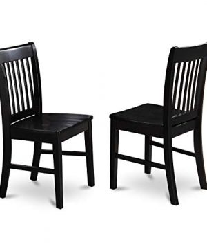 East West Furniture NFC BLK W Norfolk Kitchen Chairs Wooden Seat And Black Solid Wood Structure Wooden Dining Chair Set Of 2 0 0 300x360