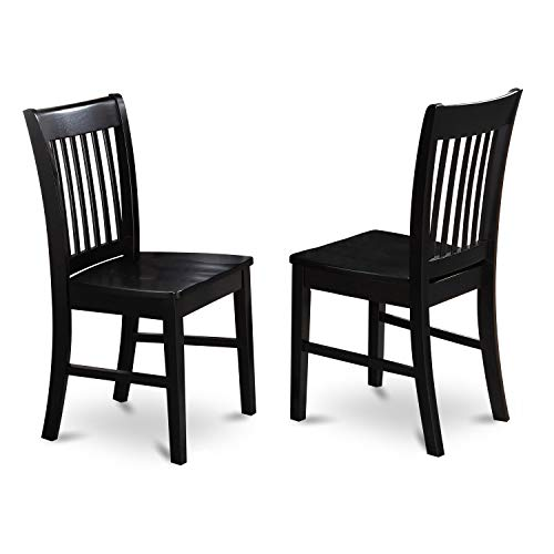 East West Furniture NFC BLK W Norfolk Kitchen Chairs Wooden Seat And Black Solid Wood Structure Wooden Dining Chair Set Of 2 0 0