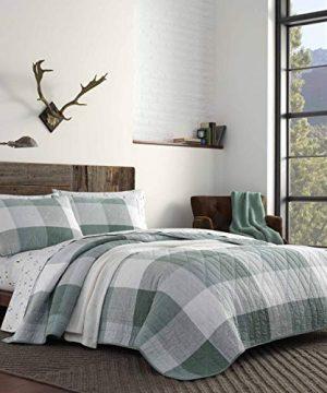 Eddie Bauer Boulder Collection 100 Cotton Light Weight Quilt Bedspread Matching Sham 2 Piece Bedding Set Pre Washed For Extra Comfort Twin Green 0 300x360
