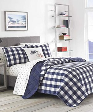 Eddie Bauer Lake House Collection 100 Cotton Reversible And Light Weight Quilt Bedspread And Sham 2 Piece Bedding Set Pre Washed For Extra Comfort Twin Blue 0 300x360