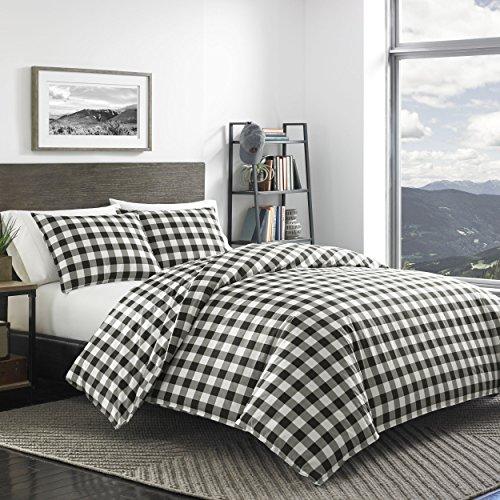 Eddie Bauer Mountain Collection 100 Cotton Soft Cozy Premium Quality Plaid Comforter With Matching Shams 3 Piece Bedding Set FullQueen Black 0 0