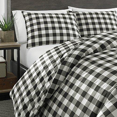 Eddie Bauer Mountain Collection 100 Cotton Soft Cozy Premium Quality Plaid Comforter With Matching Shams 3 Piece Bedding Set FullQueen Black 0 1