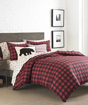 Eddie Bauer Mountain Collection 100 Cotton Soft Cozy Premium Quality Plaid Comforter With Matching Shams 3 Piece Bedding Set FullQueen Scarlet Red 0 300x360