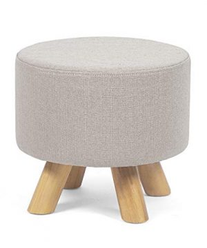 Edeco Modern Round Ottoman Foot Rest StoolSeat Pouf Ottoman With Linen Fabric And Non Skid Wooden Legs Beige 0 300x360
