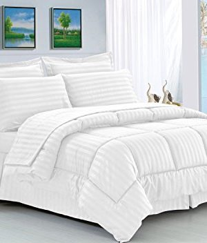 Elegant Comfort Wrinkle Resistant Silky Soft Dobby Stripe Bed In A Bag 8 Piece Comforter Set HypoAllergenic FullQueen White 0 300x352