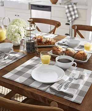 Elrene Home Fashions Farmhouse Living Buffalo Check Placemat Set Of 4 13 X 19 GrayWhite 4 0 0 300x360