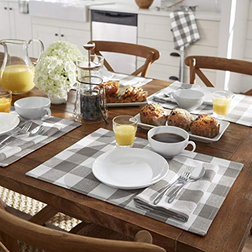 Elrene Home Fashions Farmhouse Living Buffalo Check Placemat Set Of 4 13 X 19 GrayWhite 4 0 0